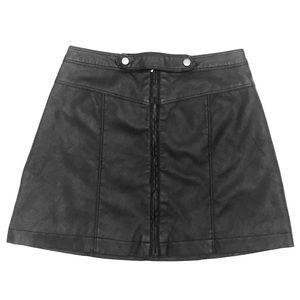🕶 Black Faux Leather Moto Zipper Front Skirt 🕶
